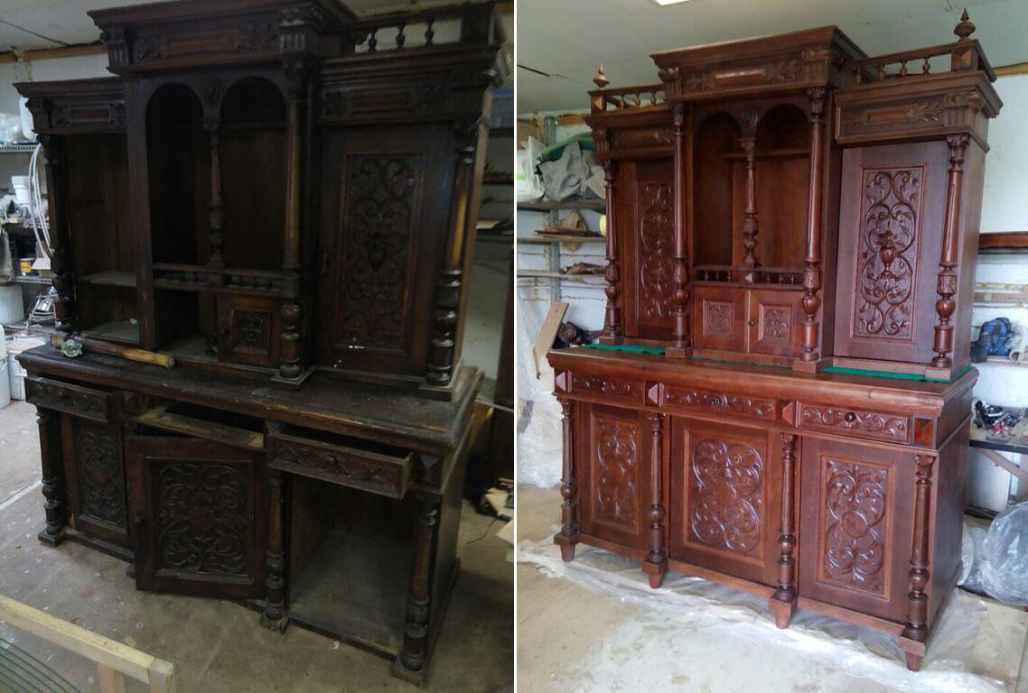 Реставрация буфета - ремонт, покраска, восстановление утраченных элементов, фанеровка