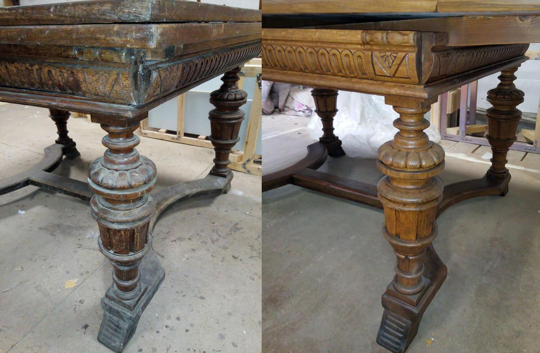Реставрация столов с резными элементами