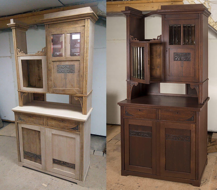 Реставрация буфета - фанеровка, покраска, ремонт